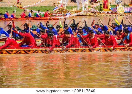 Nan Thailand - October 25 2014: Thai traditional long boat racing usually held on yaer end after river full of water on Nan river of Nan Thailand