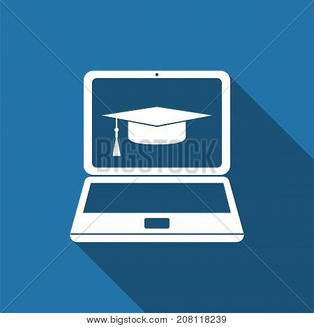 Graduation cap and laptop icon. Online learning or e-learning concept icon isolated with long shadow. Flat design. Vector Illustration