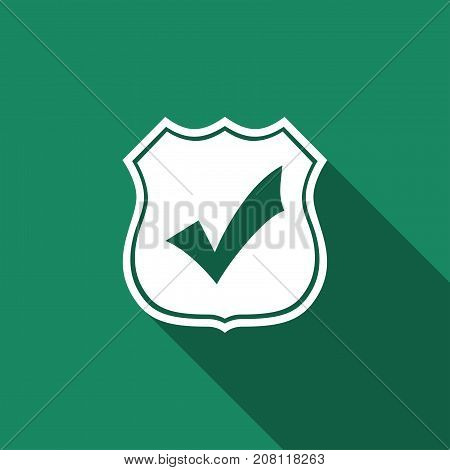 Shield with check mark icon isolated with long shadow. Flat design. Vector Illustration