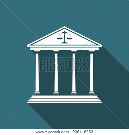 Courthouse icon isolated with long shadow. Flat design. Vector Illustration