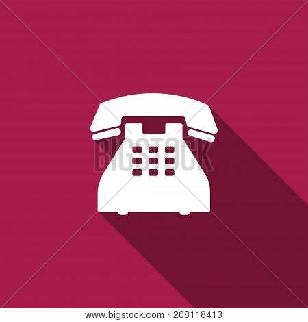Telephone icon isolated with long shadow. Flat design. Vector Illustration