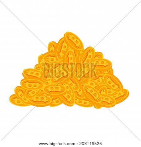 Bunch Of Bitcoins. Lot Of Crypto Currency Is Profit. Virtual Money Bunch. Vector Illustration