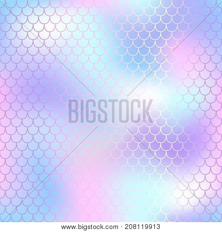 Fish scale pattern with color mesh background. Mermaid vector seamless pattern. Aquatic surface design. Smooth color mesh tile. Marine animal skin ornament. Aquatic pattern. Magic mermaid