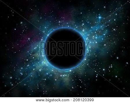 Black hole in a star field. Digital illustration.