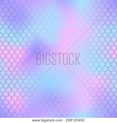 Pink and violet fish skin with scale pattern. Mermaid tail vector background. Mermaid skin seamless background for nursery design. Seamless color mesh. Fish scale ornament