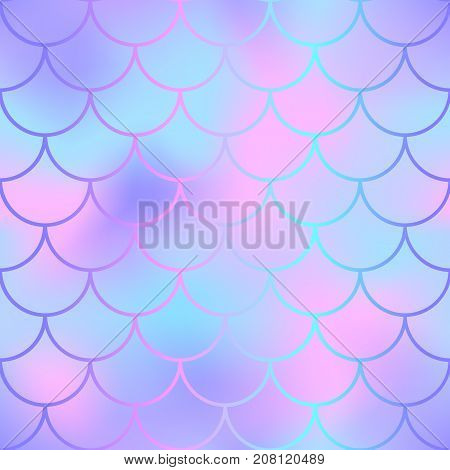 Pink and blue fish skin with scale pattern. Mermaid vector background. Magic mermaid skin seamless background for nursery design. Seamless color mesh. Fish scale ornament