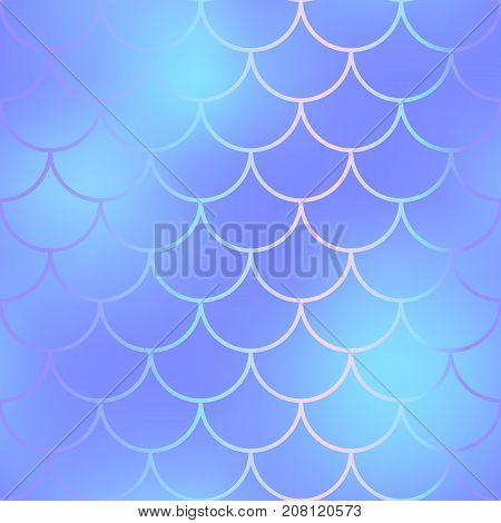 Cold blue fish skin with scale pattern. Mermaid scale seamless background for nursery design. Seamless color mesh with fish scale ornament