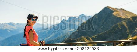 Image of sports girl with walking sticks
