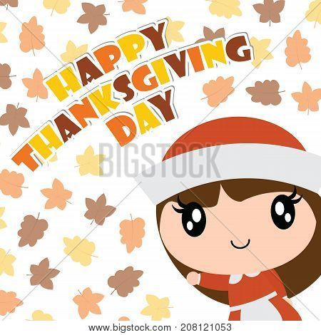 Cute pilgrim girl smiles on maple leaves background vector cartoon illustration for happy thanksgiving's day card design, wallpaper and kid t-shirt design