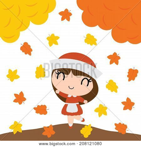 Cute pilgrim girl is happy behind maple trees vector cartoon illustration for happy thanksgiving's day card design, wallpaper and kid t-shirt design