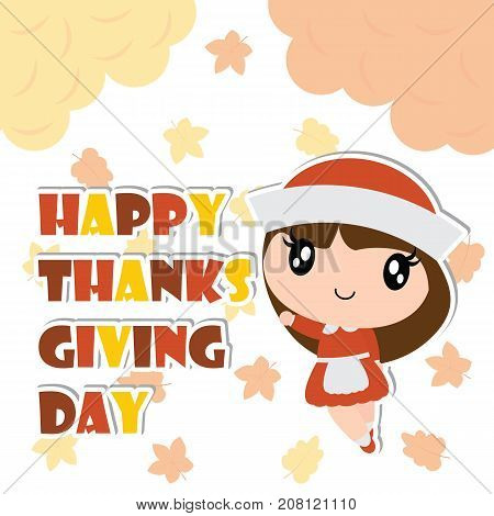 Cute pilgrim girl is happy on maple leaves background vector cartoon illustration for happy thanksgiving's day card design, wallpaper and kid t-shirt design