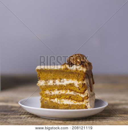piece of cake with caramel and nuts