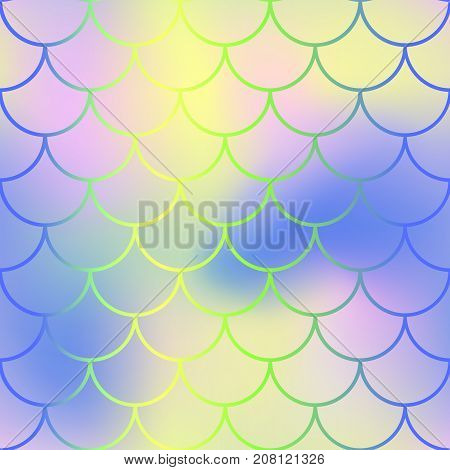 Fantastic fish skin with scale pattern. Mermaid tail vector background. Mermaid seamless pattern. Shiny fishscale seamless background for nursery design. Seamless color mesh with fish scale ornament