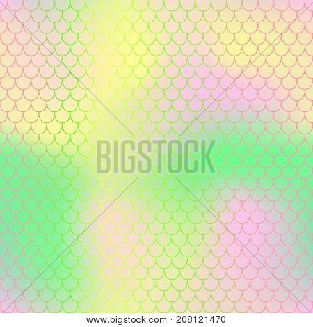 Pink and green fish skin with scale pattern. Mermaid tail vector background. Mermaid seamless pattern. Spring seamless background for nursery design. Seamless color mesh with fish scale ornament