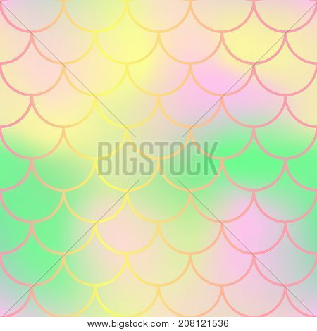 Pastel fish skin with scale pattern. Mermaid tail vector background. Mermaid fishscale seamless background for nursery design. Seamless color mesh with fish scale ornament