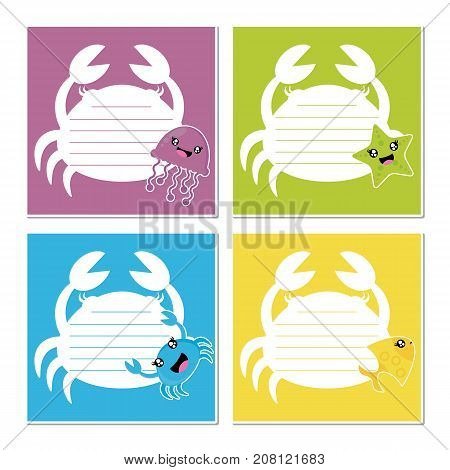 Cute sea animals on colorful crab frame vector cartoon illustration for birthday memo paper design, planner paper and stationery paper