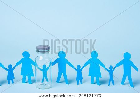 A child from a test tube or artificial insemination. Family holding hands. Copy space for text