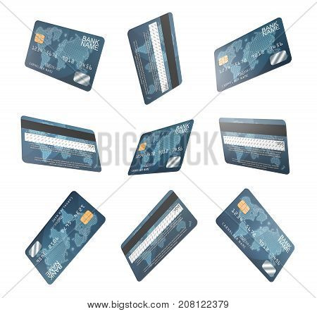 3d rendering of several identical generic credit cards shown in various angle in one set. Cashless payments. Personal finance. Consumer banking.