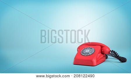 3d rendering of a red retro rotary phone with a black cord stands unused on blue background. Emergency call. Customers support. Call us now.