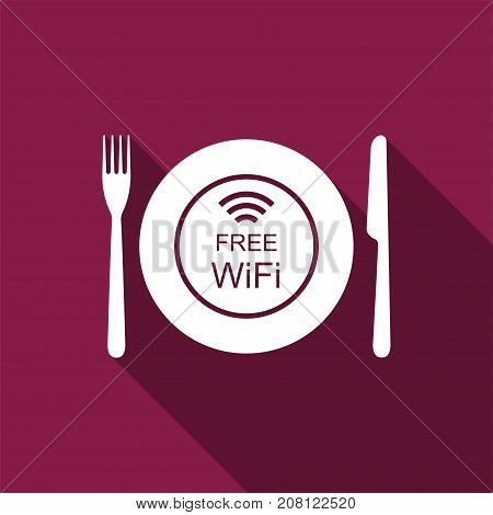 Restaurant Free Wi-Fi zone. Plate, fork and knife icon isolated with long shadow. Flat design. Vector Illustration