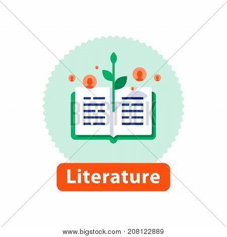 Literature reading, open book, storytelling concept, bookstore best seller, school education, publicity event, vector icon