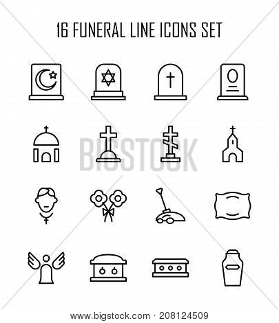 Funeral icon set. Collection of high quality outline Burial pictograms in modern flat style. Black angel, coffin, deth, grave  logo for web design and mobile app on white background.