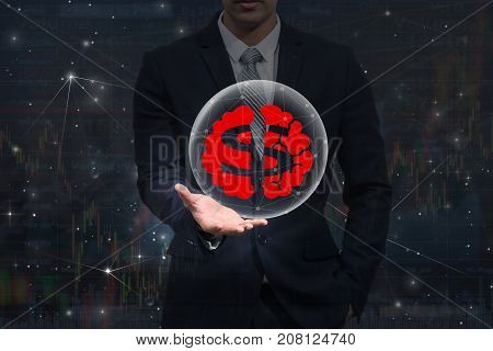 Businessman hand holding the dollar symbol with brain icon over the trading graph on the stock market exchange information background business health money and trading concept, 3D illustration