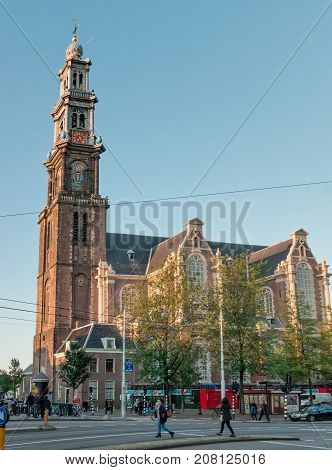 NETHERLANDS AMSTERDAM - SEPTEMBER 09 2015: The Calvinist Church of Westerkerk the highest in Amsterdam - 85 meters Rembrandt was buried on October 8 1669.