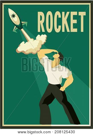 vector illustration retro poster concept man and space high technology science and education