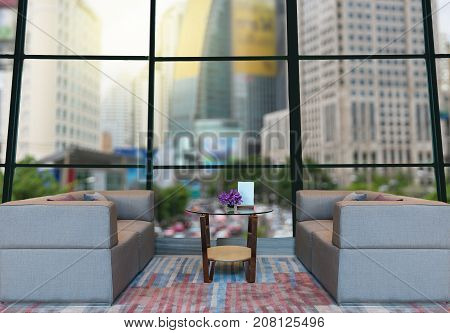 Lobby area of a hotel which can see abstract Blurred photo of cityscape backgroundBusiness financial concept