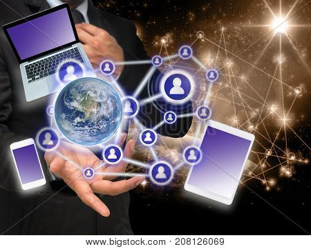 Businessman with show hand posture with the Social media and technology devide with Internet network concept background Elements of this image furnished. Business network concept, 3D