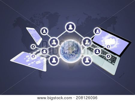 Social network with Technology devise on world map background Elements of this image furnished. Business network concept, 3D illustration