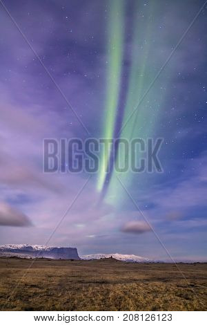 Aurora borealis or the northern lights Iceland april 2016