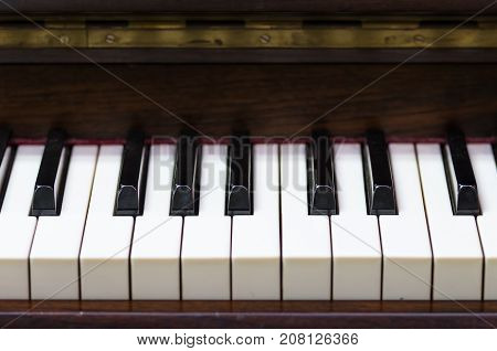 Closeup keyboard of piano musical instrument in full frame