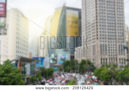 abstract Blurred photo of cityscape with traffic jam background