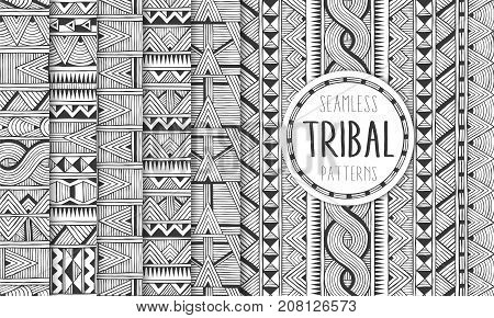 Set of six ethnic seamless patterns. Tribal geometric backgrounds. Modern abstract prints. EPS10 vector illustration.