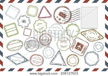 Composition with collection of colorful grungy stamps template on rectangular postal envelope. Postal Stamps set in different shapes and colors. Vector illustration