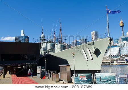 Sydney Australia - August 16 2017: The Australian Navy Ship at Australian National Maritime Museum in Sydney. The museum is located in Darling Harbour Sydney.