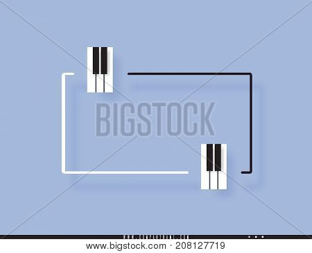 Musical quote in a frame. Creative quotation in the form of piano keys. Element of the piano keyboard. Modern design elements for classical music. Isolated on a lilac background. Vector illustration
