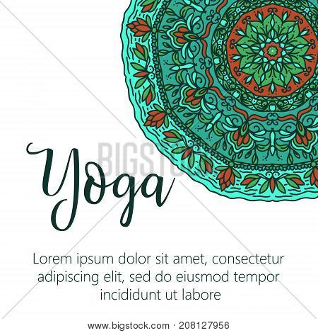 Vector yoga illustration. Template of poster for International Yoga Day. Flyer Yoga day