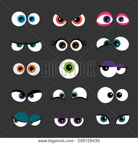 Eyes Set vector illustration. Funny comic monster eyes isolated on gray. Angry and scared, cunning and plaintive