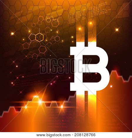 Abstract Business chart with bitcoin sign and numbers in stock market on gradient gold color background
