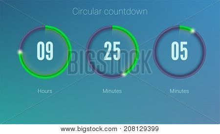 Design of countdown timer for coming soon or under construction action. UI elements. Part of the User interface, circular counter. Template of digital clock, 3D illustration.