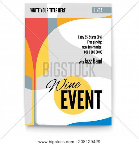Vector template of poster, design layout for brochure, banner, flyer. Mock-up for Cocktail Party, Wine festival event or menu covers, A4 size. Poster design with abstract graphic isolated on white