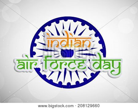 illustration of Indian Air Force Day text on wheel background on the occasion of Indian Air Force Day