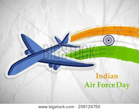 illustration of Aircraft and Indian flag background with Indian Air Force Day text on the occasion of Indian Air Force Day