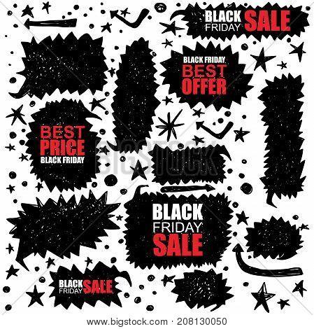 black friday sale set. bubble messages Specials Black Friday and Sale Black Friday. Vector illustration