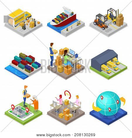 Logistics service isometric 3D set. Global freight shipping and distribution, fast delivery transportation, warehouse management. Sea, rail, air and road cargo transportation vector illustration.