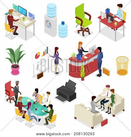 Isometric 3D set corporate office life. Teamwork and idea generation, business presentation, company reception stand, manager in office, business meeting with clients conceptual vector illustration.