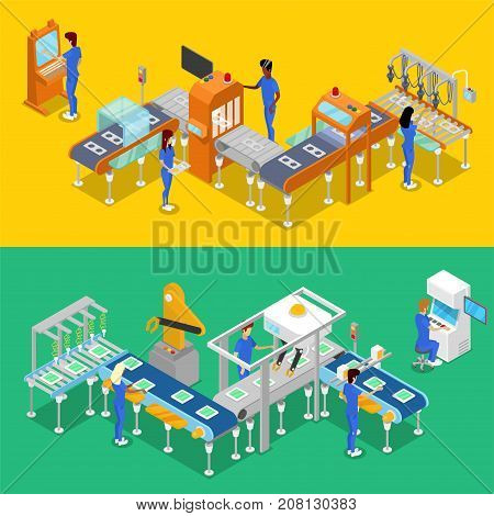 Isometric 3D production line concept set. Industrial goods production, mechanical conveyor with workers, manufacturing process. Factory equipment, smart robotic assembly line vector illustration.